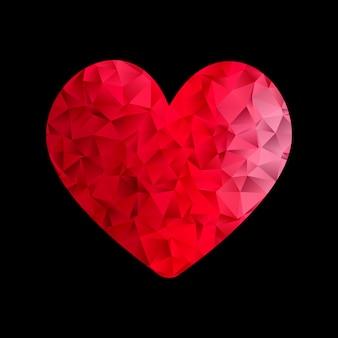 Fundo de dia dos namorados com design de coração baixo poli