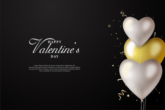 Fundo de dia dos namorados com elegantes balões de amor brancos e dourados.