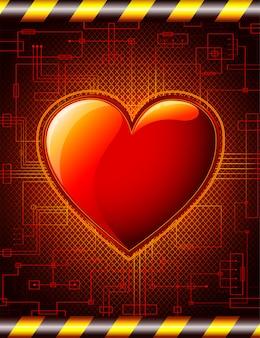 Fundo de dia dos namorados com ilustração de coração brilhante