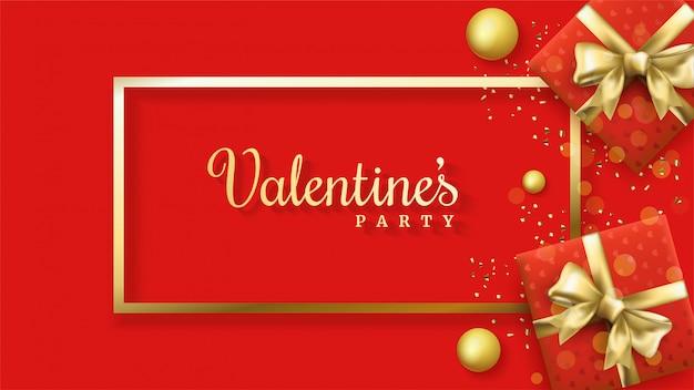 Fundo de dia dos namorados com ilustrações de duas caixas de presente vermelha.