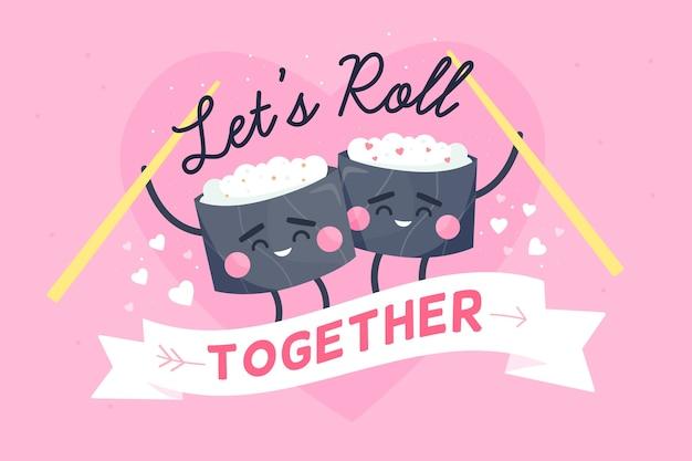 Fundo de dia dos namorados com rolos de sushi