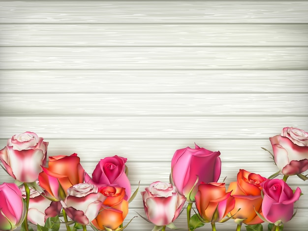 Fundo de dia dos namorados com rosas.