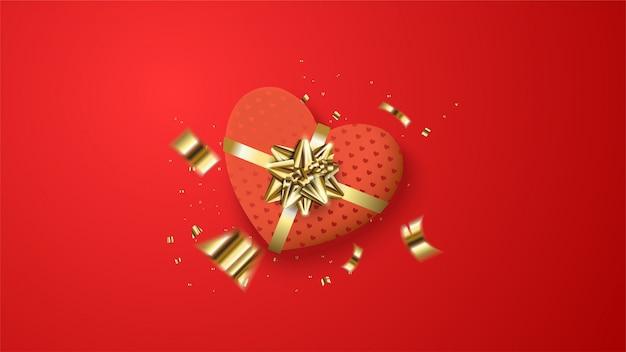 Fundo de dia dos namorados com uma ilustração de uma caixa de presente de amor vermelho