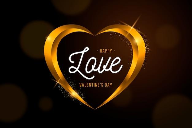 Fundo de dia dos namorados coração forma dourada