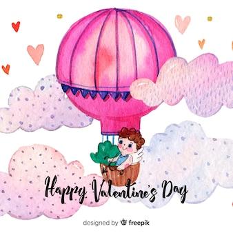 Fundo de dia dos namorados de balão de ar quente em aquarela