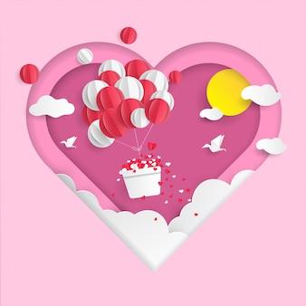 Fundo de dia dos namorados de balões de ar
