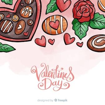 Fundo de dia dos namorados de chocolate de mão desenhada