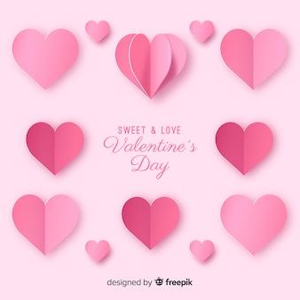 Fundo de dia dos namorados de corações dobrados