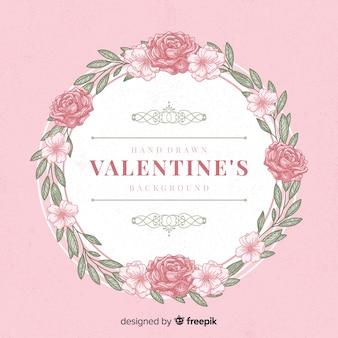 Fundo de dia dos namorados de grinalda rosa