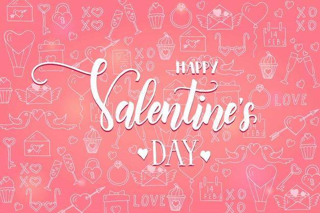 Fundo de dia dos namorados no padrão rosa com mão desenhada amor linha arte símbolos.