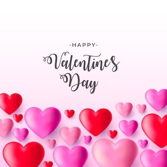 Fundo de dia dos namorados realista com corações