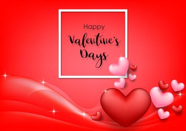 Fundo de dia dos namorados rosa com corações em vermelho
