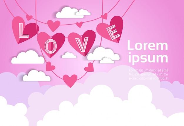 Fundo de dia dos namorados rosa com decoração de amor sobre nuvens