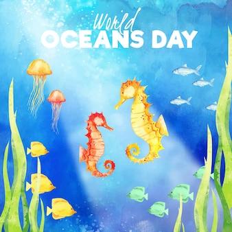 Fundo de dia dos oceanos mundo aquarela