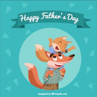 Fundo de dia dos pais com a família de raposas