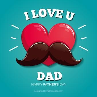 Fundo de dia dos pais com coração e bigode
