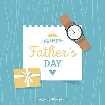 Fundo de dia dos pais com relógio e nota