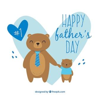 Fundo de dia dos pais com ursos bonitos