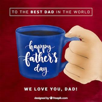 Fundo de dia dos pais feliz com xícara de café azul