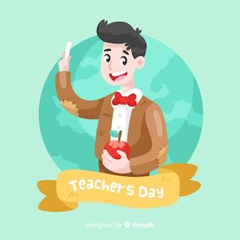 Fundo de dia dos professores de design plano