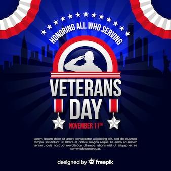 Fundo de dia dos veteranos com soldado e bandeira