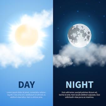 Fundo de dia e noite com lua do sol