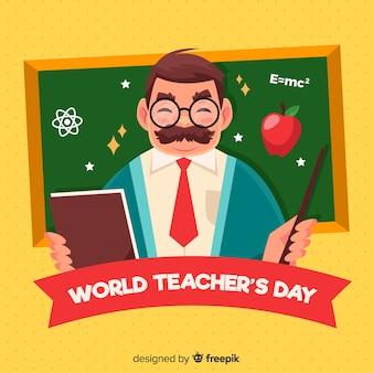 Fundo de dia feliz do professor mundial com professor e quadro-negro