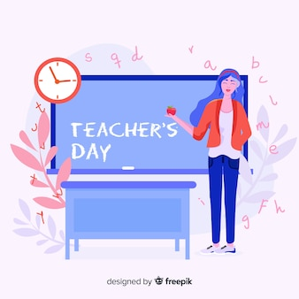 Fundo de dia feliz do professor mundial com professora e quadro-negro