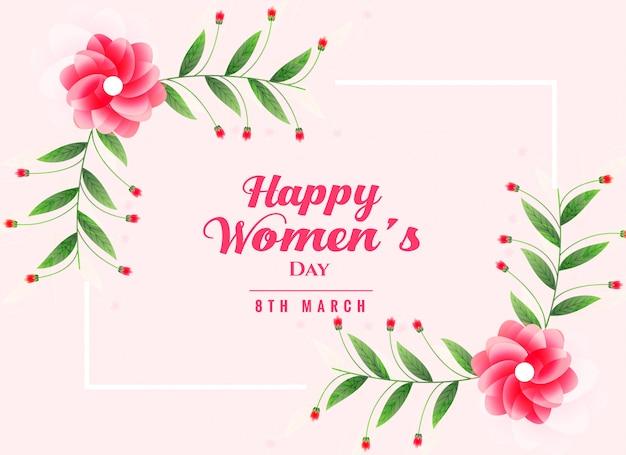 Fundo de dia feliz feminino com decoração de flor
