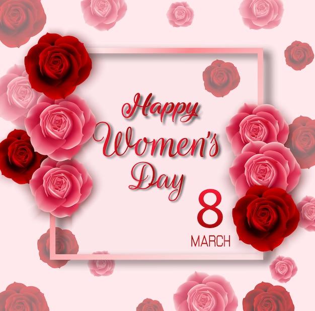 Fundo de dia feliz feminino com rosas vermelhas e cor de rosa