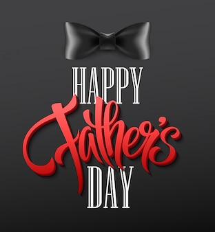 Fundo de dia feliz pais com saudação letras e gravata borboleta.
