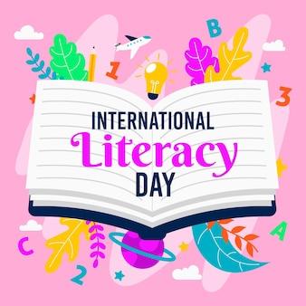 Fundo de dia internacional da alfabetização de design plano com livro