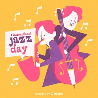 Fundo de dia internacional jazz mão desenhada