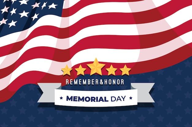 Fundo de dia memorial design plano com bandeira e estrelas dos eua