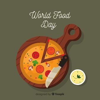 Fundo de dia mundial da comida com pizza