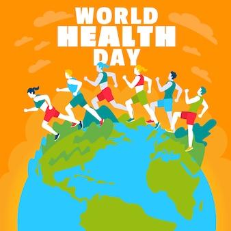Fundo de dia mundial da saúde design plano