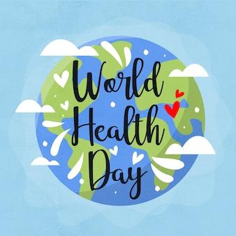 Fundo de dia mundial da saúde mão desenhada