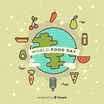 Fundo de dia mundial de comida com comida ao redor da terra