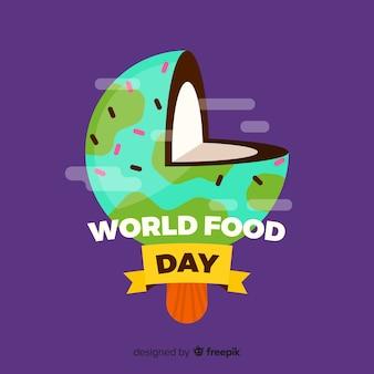 Fundo de dia mundial de comida com terra no conceito de coco