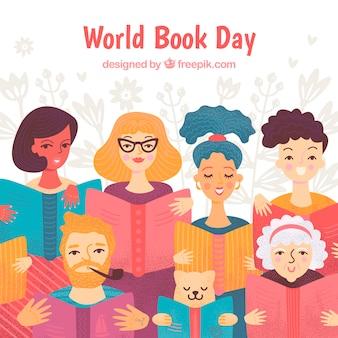 Fundo de dia mundial do livro com pessoas lendo