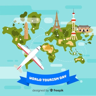 Fundo de dia mundial do turismo com o mundo e monumentos