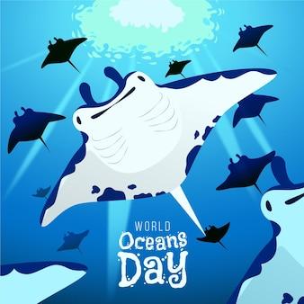 Fundo de dia mundial oceanos mão desenhada