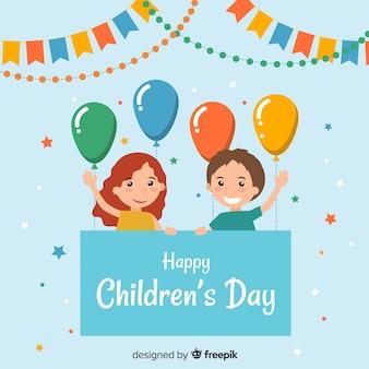 Fundo de dia plana para crianças balão