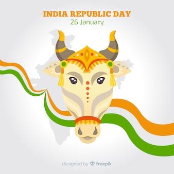Fundo de dia plano república indiano