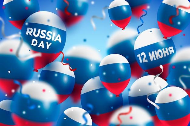 Fundo de dia realista da rússia com balões