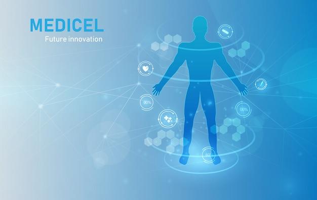 Fundo de diagnósticos de corpo humano de cuidados de saúde médicos