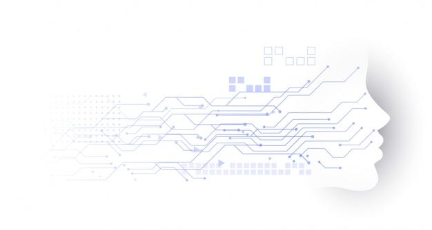 Fundo de diagrama de circuito de rosto de tecnologia