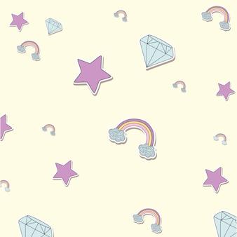 Fundo de diamantes e estrelas