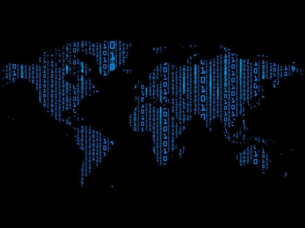 Fundo de digitas da matriz azul no mapa do mundo.