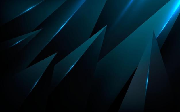 Fundo de dimensão abstrato com forma de cone preto com luz azul